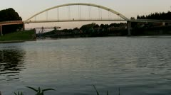 Stock Video Footage of The Mohlenkopf-bridge and the Rhine in cologne Niehl near the habour