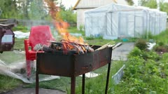Burning woods in an iron chargrill. - stock footage