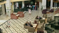 People in hall of hotel in Monastir, Tunisia - stock footage