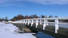 Helsinki 21 - wooden bridge in downtown Stock Footage