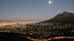 Cape Town, Devilspeak at Moonrise Stock Footage