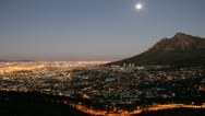 Stock Video Footage of Cape Town, Devilspeak at Moonrise