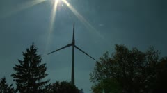 Sun and air power clean energy - windmill 1 Stock Footage