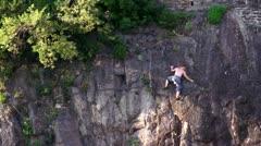 Rock climbing wall italy Stock Footage
