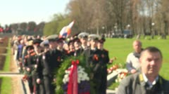 The mourning ceremony in the Piskarevsky cemetery Stock Footage