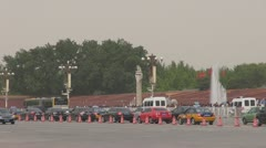 Traffic car near to Forbidden City, Beijing, China Stock Footage