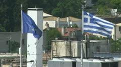 Greek and EU flag near the parthenon in Athens Stock Footage