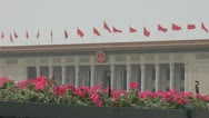 Stock Video Footage of The Great Hall of the People China's flags Beijing China day flower building