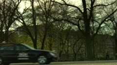 A man and a woman arriving with a taxi, Stockholm Stock Footage
