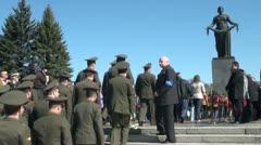 Motherland at Piskarevskoe cemetery Stock Footage