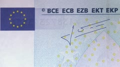 A twenty Euro bill, close-up Stock Footage