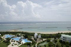 View of the ocean and hotel grounds on Ishigaki island, Okinawa, Japan Stock Photos