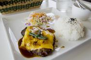 Japanese hamburger and rice Stock Photos