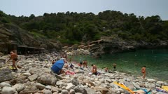 Rocky beach of Deya, Majorca Stock Footage