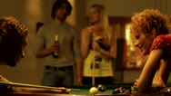Stock Video Footage of Four people playing billiards, Stockholm
