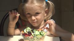 Child Eating Salad without Cutlery, Child Who does not Like Beans, Children Stock Footage