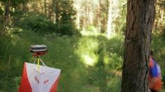 A woman practising orienteering Stock Footage