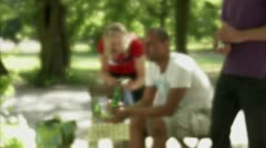 People playing boules in a park, Stockholm Stock Footage