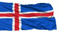 Waving national flag of Iceland - stock footage