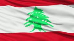 Waving national flag of Lebanon - stock footage