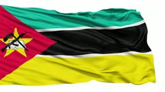 Waving national flag of Mozambique - stock footage