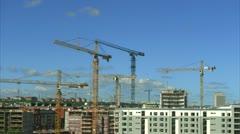 Building cranes in Stockholm Stock Footage
