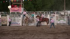 Rodeo saddle bronc horse ride winner P HD 1122 Stock Footage