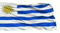 Waving national flag of Uruguay - stock footage