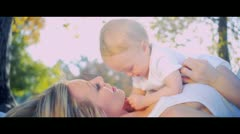 Caucasian Mother and Baby Laughing Together Stock Footage