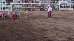 Rodeo kids chase pig P HD 1123 Stock Footage