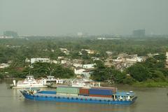 Larger cargo ship in Vietnam Stock Photos