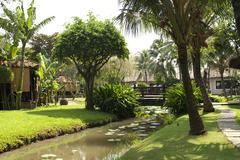 Tropical restaurant garden in Vietnam Stock Photos