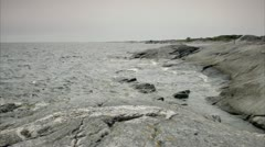 Cliffs by the sea, Huvudskar, Stockholm archipelago Stock Footage