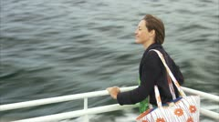 A woman on a boat, Stockholm archipelago Stock Footage