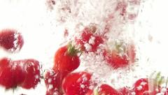 Fresh Strawberries underwater in Slow Motion Stock Footage