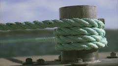 A rope tied around a bollard, Huvudskar, Stockholm archipelago Stock Footage