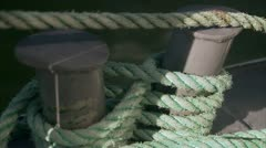A rope tied around bitts, Stockholm archipelago Stock Footage