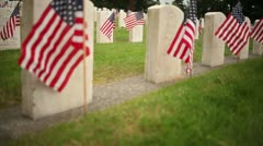 Crane Shot Rising Over Military Cemetery Stock Footage