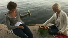 Young women having a barbecue and drinking beer, Blido, Stockholm archipelago Stock Footage