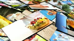 Montage 3D Images Healthy Food and Sporting Activities Stock Footage