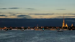 Trinity Bridge at night Stock Footage