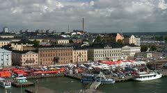 Helsinki harbor and market square, Finland - stock footage