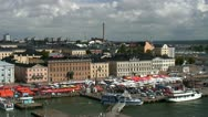 Stock Video Footage of Helsinki harbor and market square, Finland