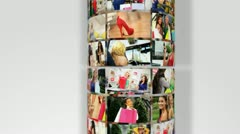 Montage 3D Images Young Females Shopping Lifestyle Stock Footage