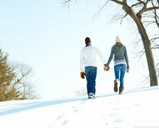 the couple and romantic walking in winter time - stock photo