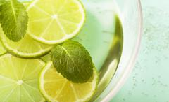 Fresh slices lemon with leaf mint Stock Photos