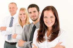 business team happy standing in line portrait - stock photo