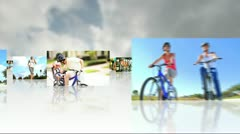 Montage 3D Images People Following Healthy Lifestyle Stock Footage