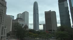 Panoramic view of Central District in Hong Kong, China Stock Footage