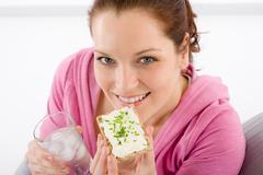 Stock Photo of fitness woman relax glass water snack sportive
